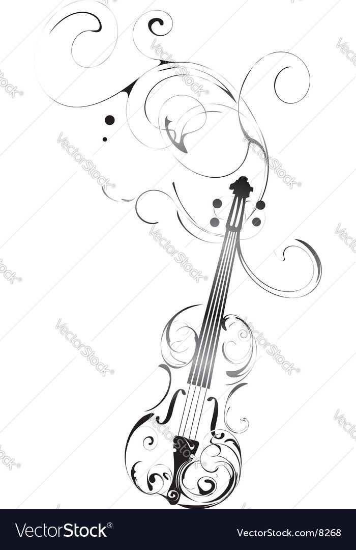 700x1080 Vector Violin With Pattern And Decorations. Download A Free