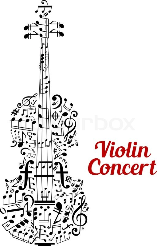 511x800 Creative Vector Violin Concert Poster Design With The Shape Of A