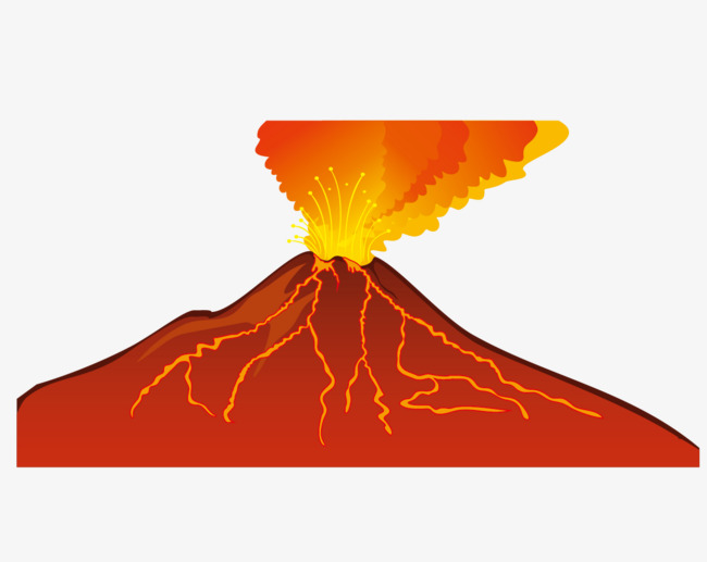 650x517 Hand Drawn Vector Volcanic Eruption, Hand Vector, Hand Painted