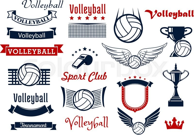 800x558 Volleyball Sports Game Design Elements With Winged Balls