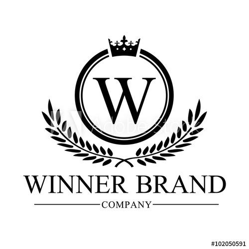 500x500 Winner Brand, W Letter Logo,crest Logo,luxury Brand Identity