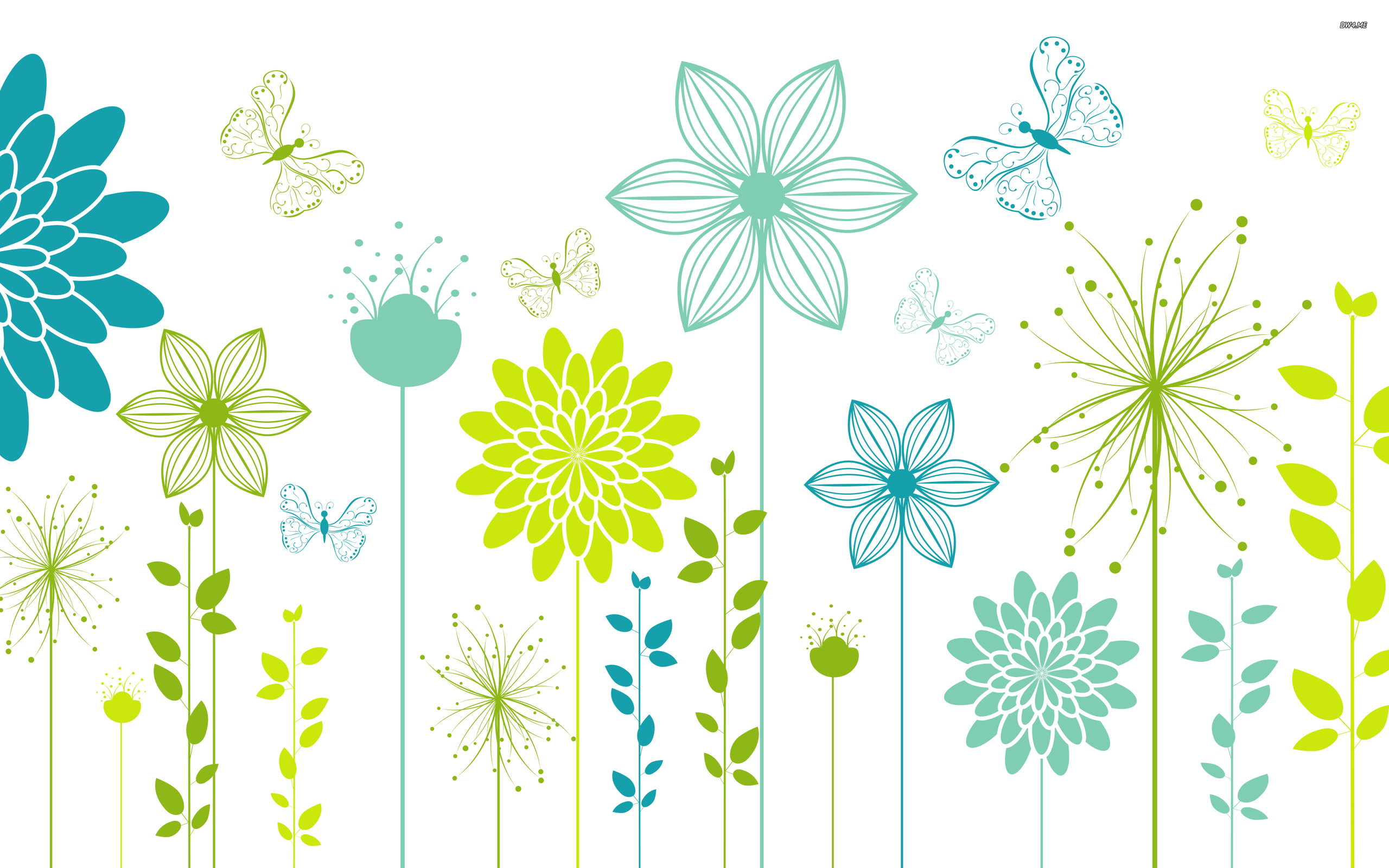 2560x1600 Butterflies And Spring Flowers On A White Surface Wallpaper