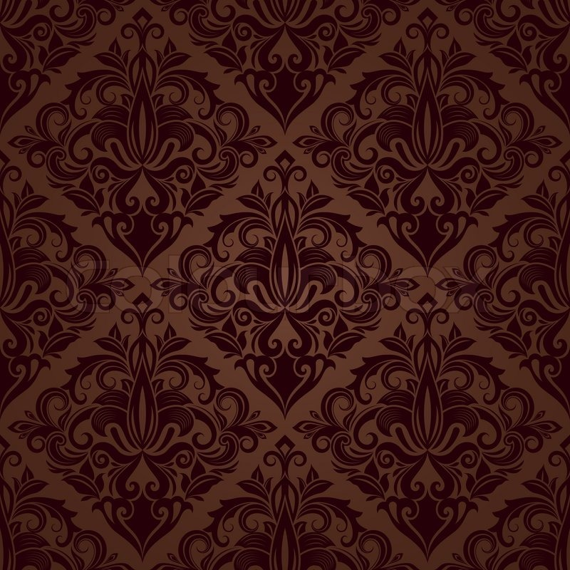 800x800 Seamless Brown Floral Vector Wallpaper Pattern. Stock Vector