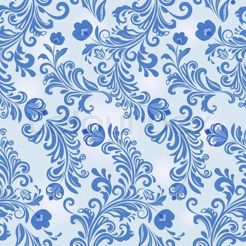 800x800 Seamless Winter Blue Flower Vector Wallpaper Pattern. Stock