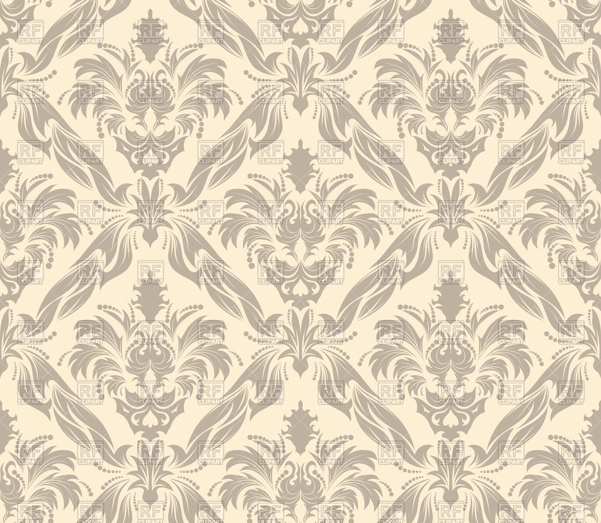 1200x1044 Beige Seamless Old Wallpaper Pattern Vector Image Vector Artwork