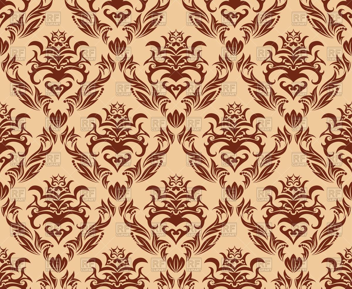 1200x987 Brown Seamless Old Wallpaper Pattern Vector Image Vector Artwork