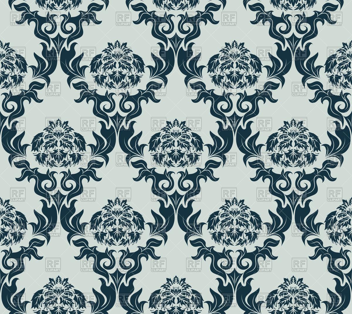 1200x1072 Damask Grey Seamless Old Wallpaper Pattern Vector Image Vector