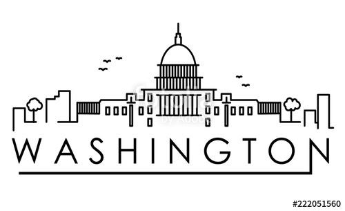 500x305 Outline Washington Dc Usa City Skyline With Modern Buildings