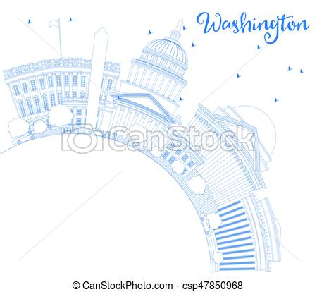 450x414 Outline Washington Dc Skyline With Blue Buildings And Copy Space