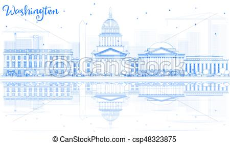 450x282 Outline Washington Dc Skyline With Blue Buildings And Reflections