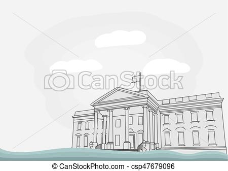 450x337 The White House In Washington, D.c. Vector Illustration.