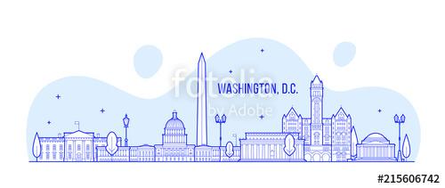 500x211 Washington, D. C. Skyline Usa City Building Vector Stock Image