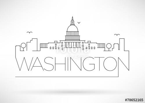 500x354 Washington D.c. City Line Silhouette Typographic Design Stock