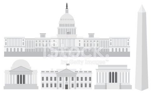 485x300 Washington Dc Capitol Buildings And Memorials Vector Illustratio