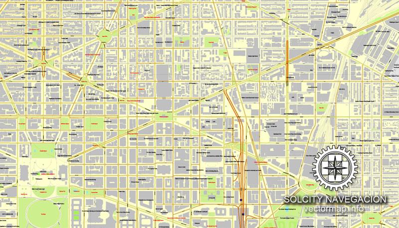 800x458 Washington Dc Map Us Printable Vector City Plan Full Editable