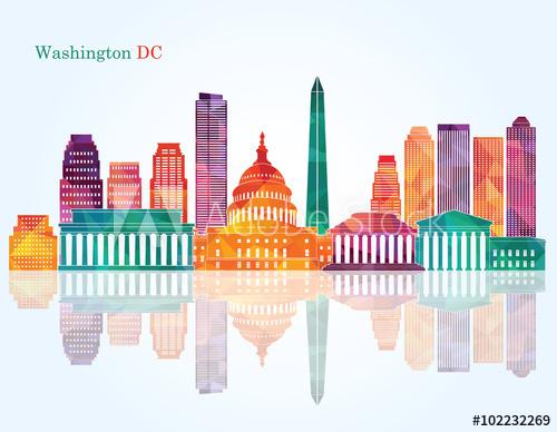 500x388 Washington Dc Skyline. Vector Illustration