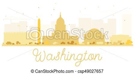 450x247 Washington Dc City Skyline Golden Silhouette. Vector Illustration