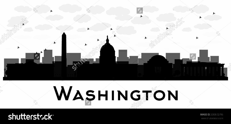 1500x805 Stock Vector Washington Dc City Skyline Black And White Silhouette
