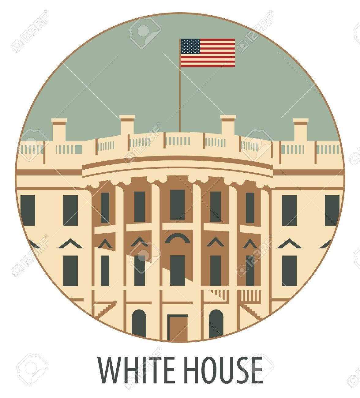 1176x1300 55799438 Vector Illustration White House Washington Dc With Flag