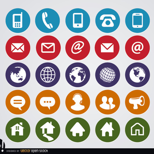 600x600 Free Vector Round Web Contact Icons