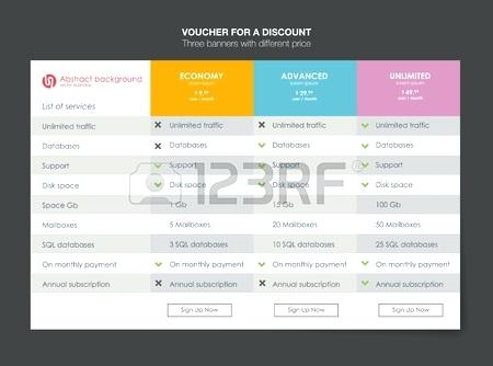 450x334 Vector Pricing Table Template Web Banners Boxes Hosting Plans