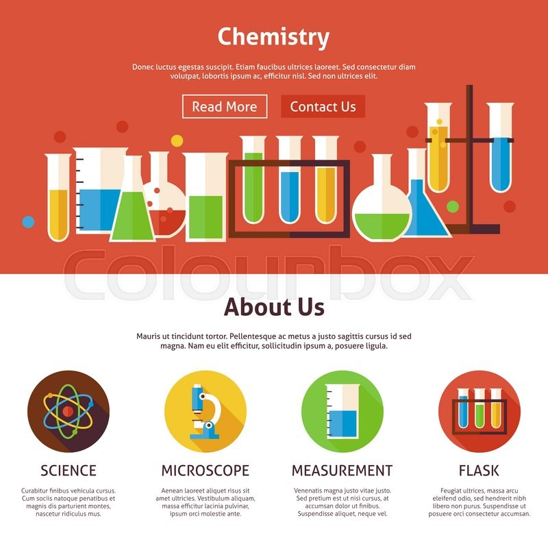 800x800 Chemistry Science Flat Web Design Template. Vector Illustration