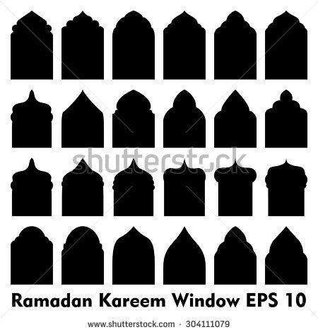 450x470 Vector Islamic Door And Window Shapes Arabic Door And Window