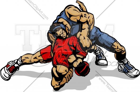 590x387 Wrestling Vector Art Clipart Image. Easy To Edit Vector Format.