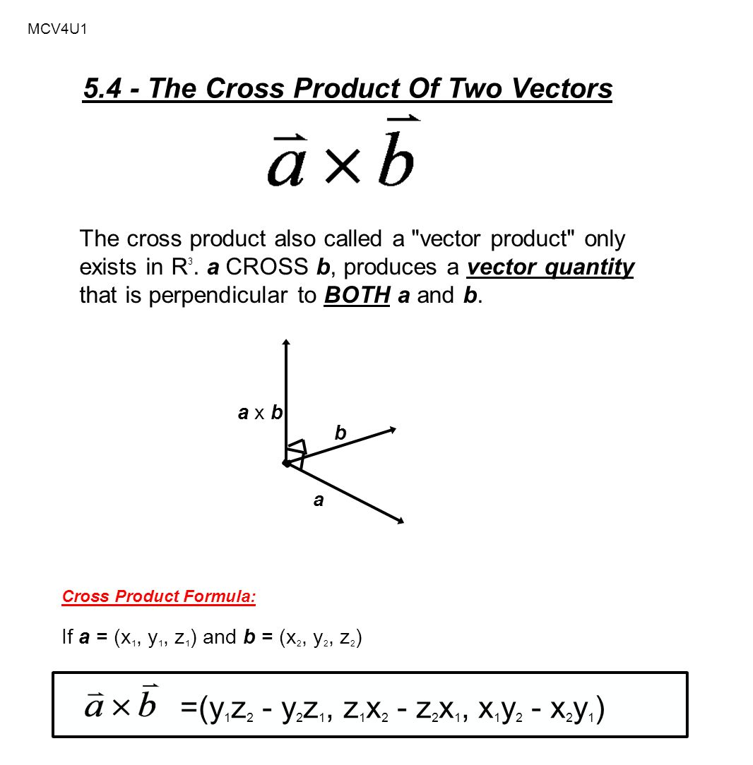 1066x1084 Mcv4u The Cross Product Of Two Vectors The Cross Product Also