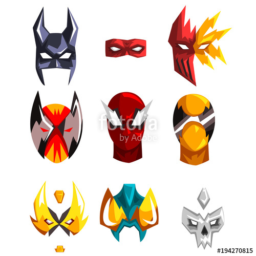 500x500 Colorfu Super Hero Masks Set Of Vector Illustrations On A White