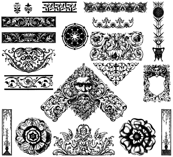 600x542 Free Vector Victorian Ornaments Brush Pack 123freevectors