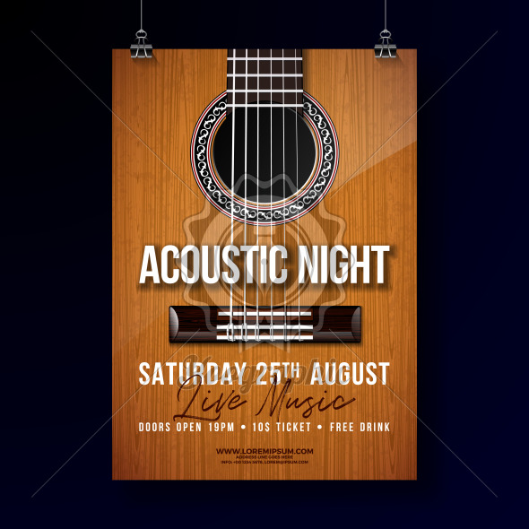 590x590 Acoustic Night Party Flyer Design With String And Lettering On