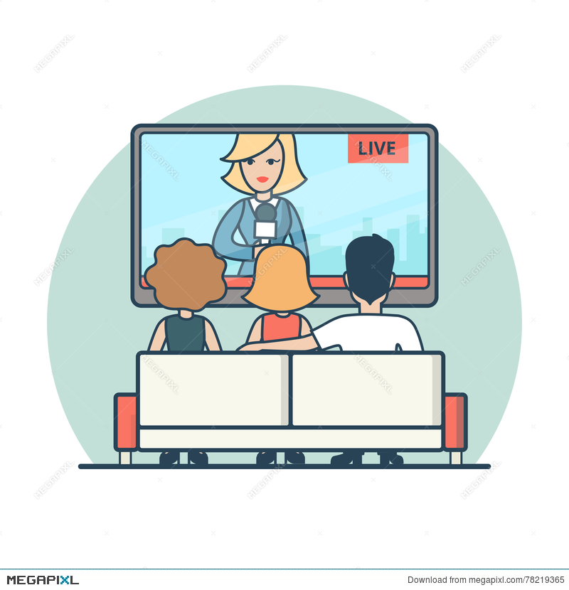 800x830 Linear Flat People Watching News On Tv Vector Live Illustration