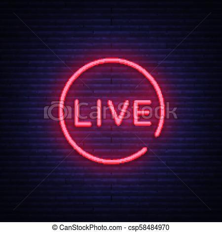 450x470 Live Neon Sign Vector. Live Stream Design Template Neon Sign