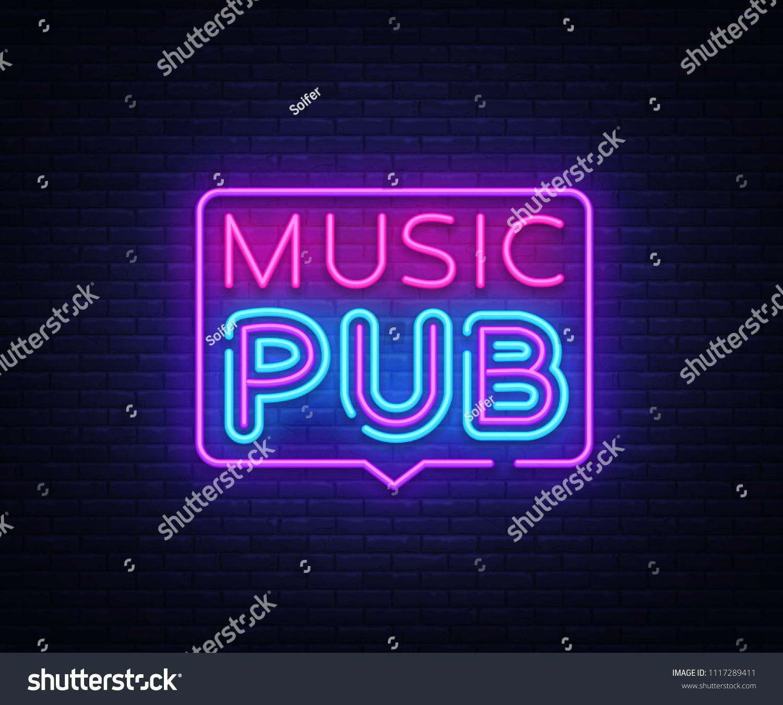 1500x1350 Music Pub Neon Sign Vector. Live Music Design Template Neon Sign