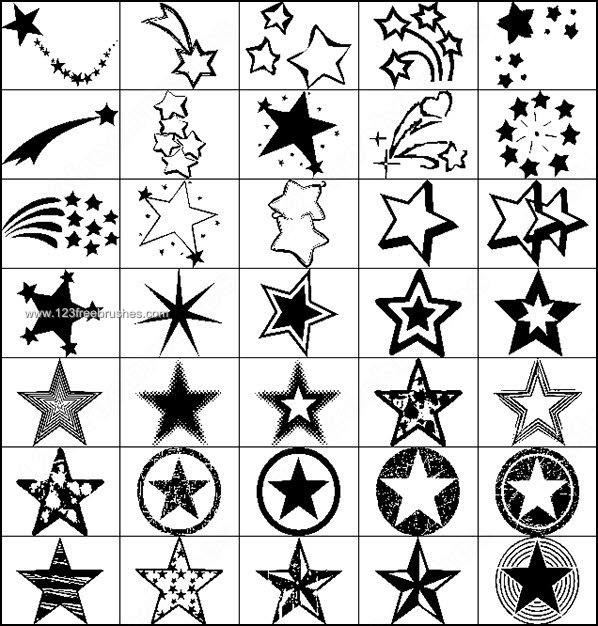598x626 Free Star Shape Photoshop Brushes Photoshop Free Brushes