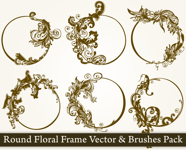 600x482 Round Floral Frame Vector Pack Vector Amp Photoshop Brushes