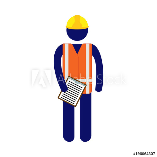 500x500 Vector Site Pictogram Man Holding Checklist In Notepad Wearing