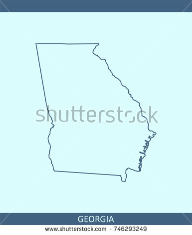 385x470 Georgia Outline Vector State Usa Map Stock 746293249