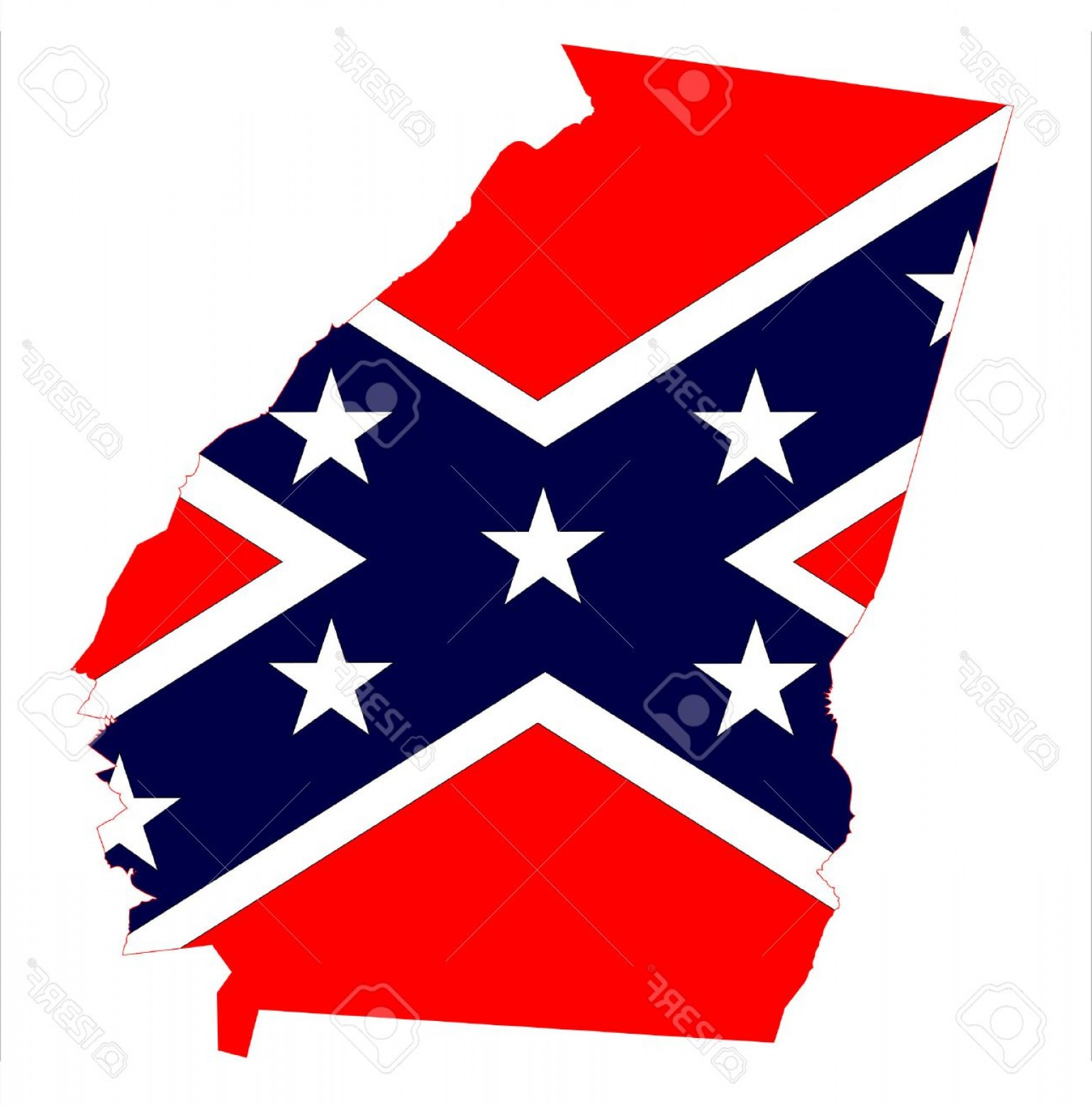 1540x1560 Photostock Vector State Map Outline Of Georgia With Confederate