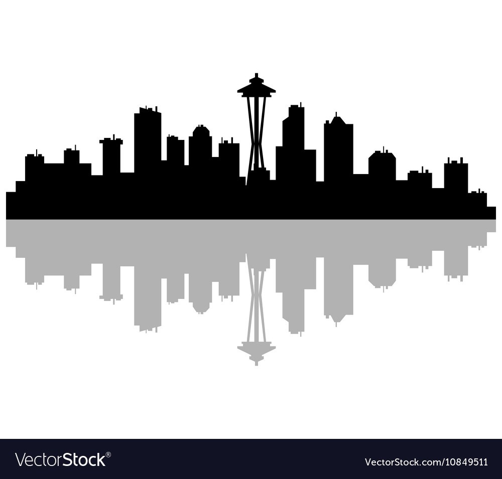 1000x955 Fantastic Seattle Skyline Vector Image Seattle Skyline Royalty