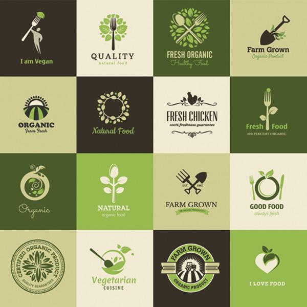 600x600 Organic Vegan Natural Food Logos Vector Set