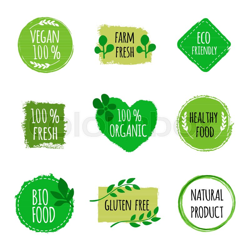 800x800 Set Of Vegan Logos, Badges, Signs. Hand Drawn Bio, Healthy Food