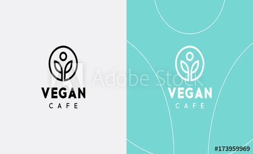 500x305 Vector Vegan Logo. Icon Design For Organic Cafe Or Food Menu Logo