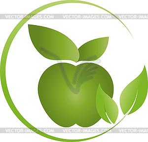 300x288 Apple And Leaves, Food, Vegan, Logo
