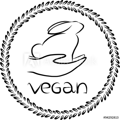 498x500 Vector Vegan Logo. Vegan Badge. Vector Rabbit Outline. Vegan Icon