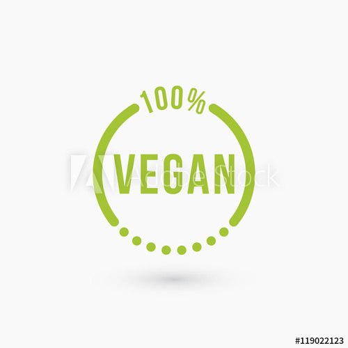 500x500 Vegan Icon Design. Isolated On White. Circle Logo. Vector
