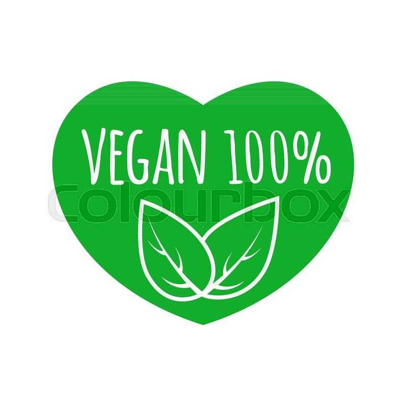 800x800 Vegan Food Sign With Leaves In Heart Shape Design. Vegan Vector