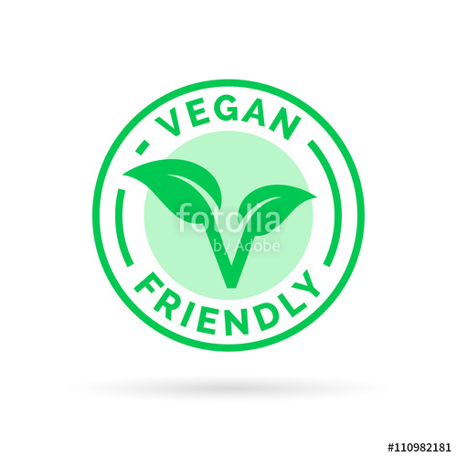 500x500 Vegan Icon Design. Vegan Food Emblem. Vegan Friendly Food Sign