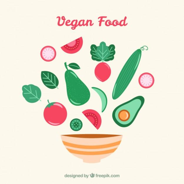 626x626 Hand Drawn Vegan Food And Bowl Vector Free Download